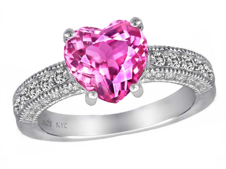 Amazon.com: Star K 8mm Heart Shape Created Pink Sapphire Ring: Jewelry