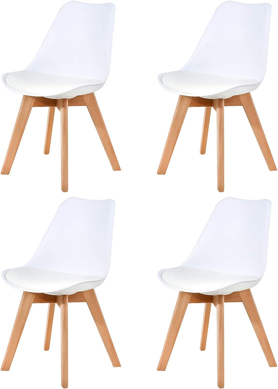 ELLEXIR Chaises de Salle /à Manger Tulipe Ensemble de 4 chaises de r/éception avec Pieds en Bois de h/être Massif avec Dossier pour la Cuisine de la Chambre /à Coucher Noir