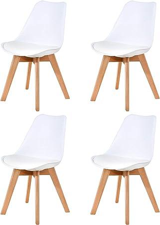 Ellexir Pack de 4 sillas,Tulip Sillas de Comedor Sillas Cocina Estilo Nórdico Diseño Ergonómico,Madera/Acero/Polipropileno sillas(Blanco): Amazon.es: Hogar