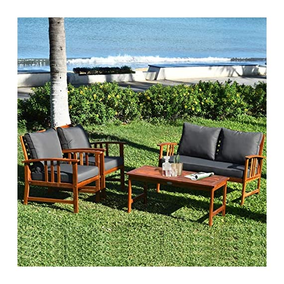 Tangkula 4 PCS Wood Patio Furniture Set, Outdoor Seating Chat Set with Gray Cushions & Back Pillow, Outdoor Conversation Set with Coffee Table, Ideal for Garden, Backyard, Poolside (Wood) - ☀️ Sturdy & Durable Frame☀️ : The frame of set is made of premium acacia wood which ensures the sturdiness and durability. And the set is not easy to deform and crack so that the set will provide long time service. With no peculiar smell and clear varnish on the wood, the frame is waterproof and the beauty can be kept for long time. ☀️ Ergonomic Design of Sofa ☀️ : Designed with slightly sloping backrest and curved handrails, the single chair and loveseat is very comfortable for relaxing yourself. With thick and soft cushions, it will also add comfort. And the seat cushions can be fixed on the slat of chair with strings. You don't need to worry about moving of cushion. ☀️ Multipurpose 4-piece Furniture☀️ : Our furniture set which includes 4 pieces can be combined in various ways or be used separately according to your different needs. You can enjoy good time with your family to drink, eat or chat. The set is ideal for your garden, patio, balcony, poolside and backyard to be a perfect décor. - patio-furniture, patio, conversation-sets - 61D 9uv4YKL. SS570  -