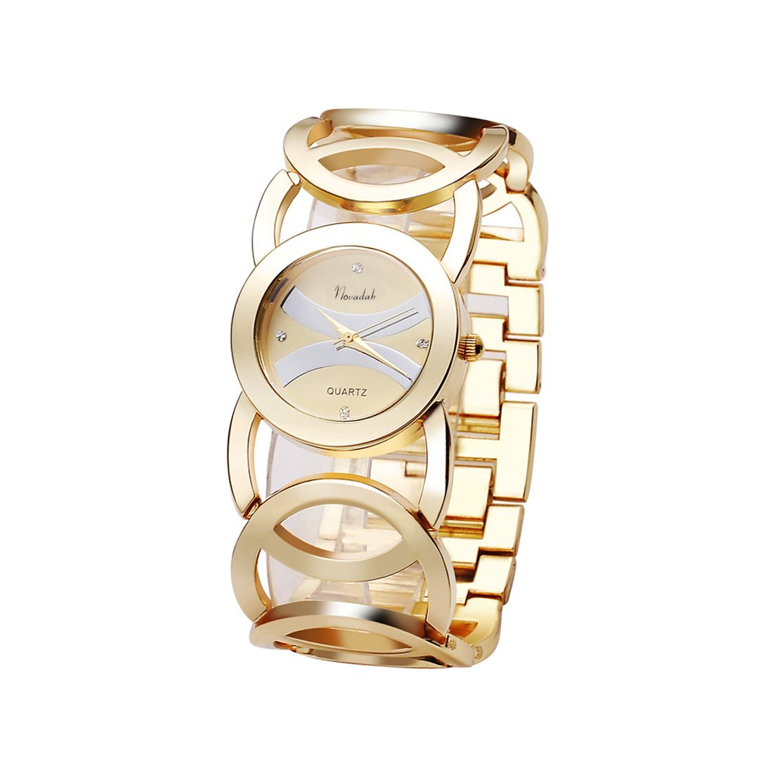 Novadab Immortal Love Accent Loop Bracelet Watch, Wrist Watches for Ladies (Gold)