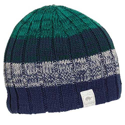 Turtle Fur Get A Jobe Boy's Fleece Lined Relaxed Fit Striped Knit Beanie Navy -