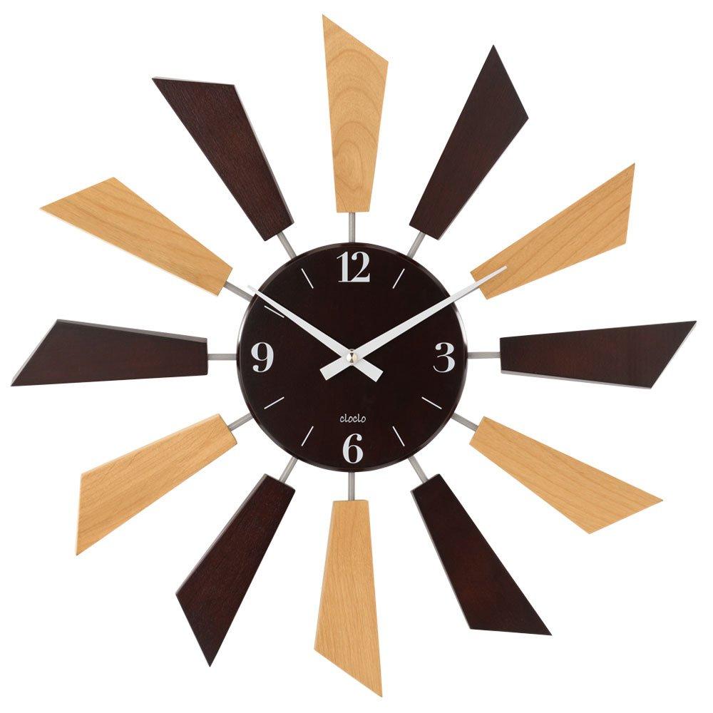 壁掛け時計 アナログ 丸型 時計 掛け時計 ウォールクロック クロック 秒針なし 木目調 生活雑貨 おしゃれ ツートン B01E3G0REAツートン