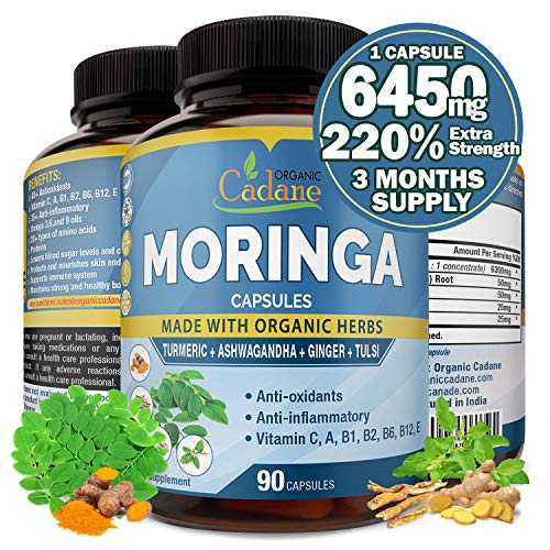 Organic Moringa Extract Capsules 6450MG with Turmeric, Ashwagandha, Ginger, Tulsi |Multi Vitamin Oleifera Leaf Herb |Supports Weight Loss, Immune System |Anti-Inflammatory Supplements, 3 Months Supply