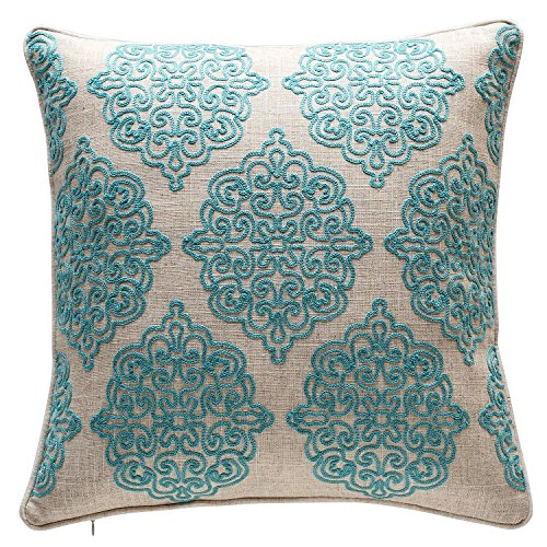 TINA'S HOME Damask Crewel Rope Embroidery Decorative Throw Pillow | Charlotte Stitch Accent Pillow (18 x 18 inches, (Crewel Bedding)