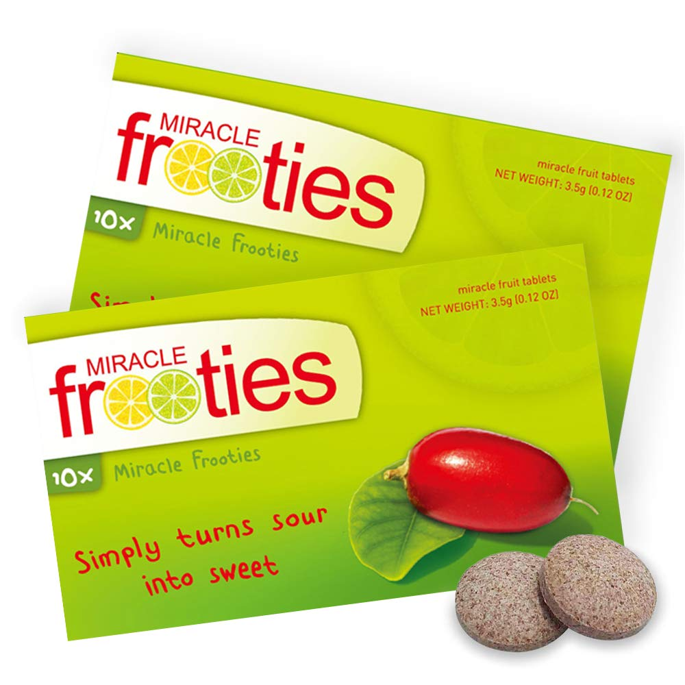 Miracle Frooties – Miracle Berry Tablets, 100% Naturally Grown Miracle Fruit, Turn Sour Sweet, Flavor Tripping, 20 count (Pack of 2)