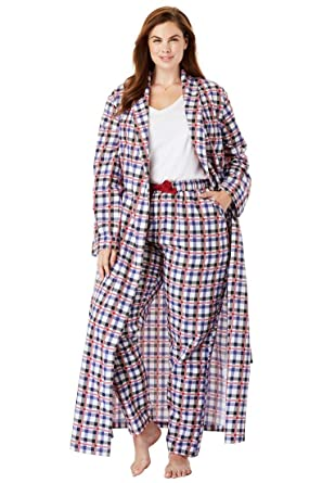 1c9c0ad8e5 Dreams   Co. Women s Plus Size Long Flannel Robe at Amazon Women s ...