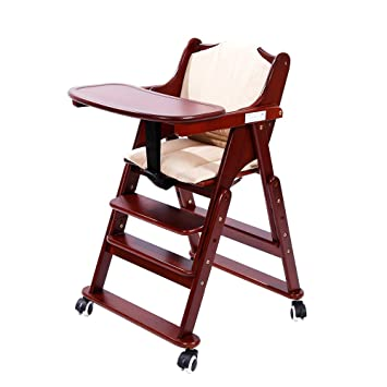 MallBoo Solid Wooden High Chair Adjustable Rolling Baby Chair For Babies  And Toddlers Feeding Chair With