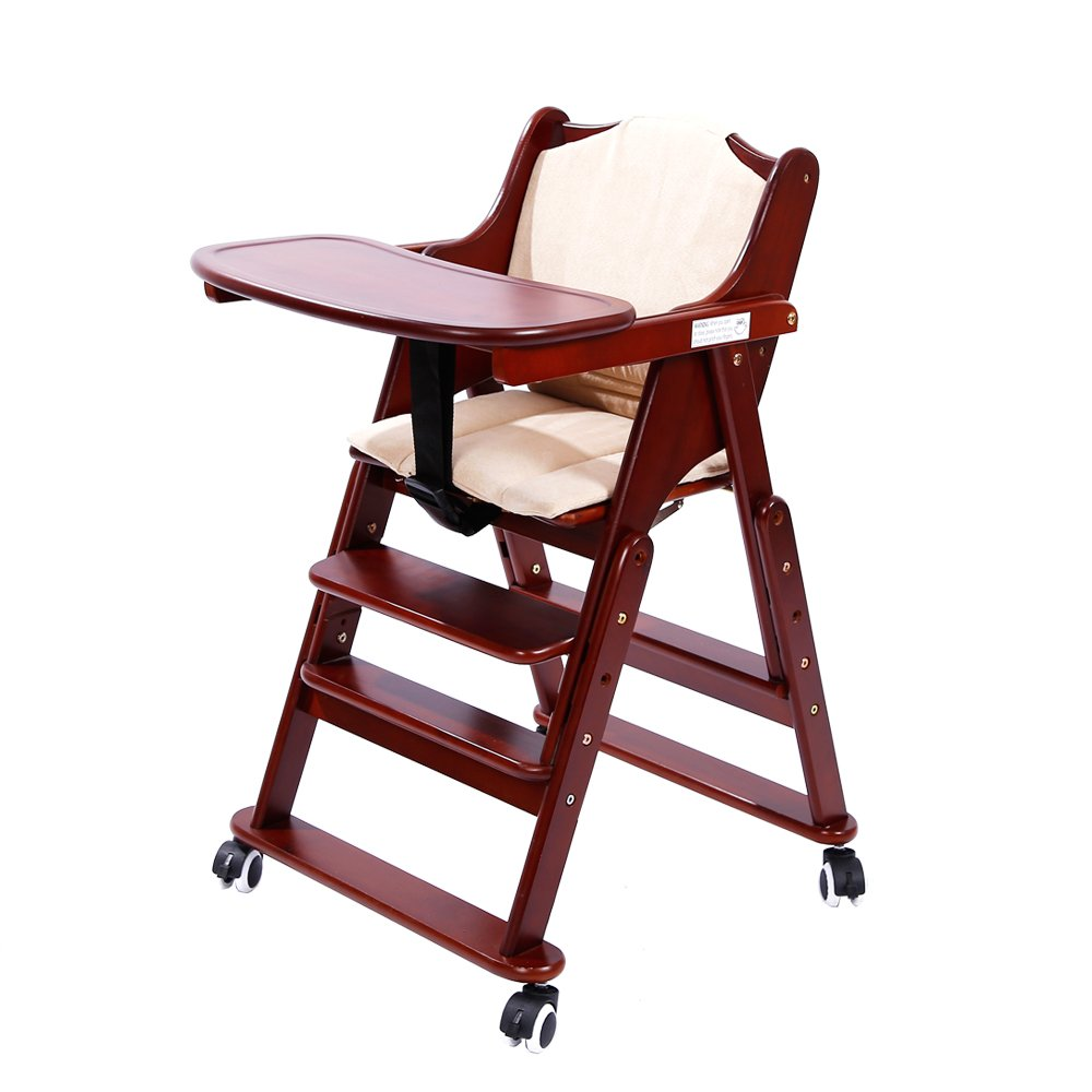MallBoo Solid Wooden High Chair Adjustable Rolling Baby Chair for Babies and Toddlers Feeding Chair with Tray, Cushion and Safety Belt (Deep Coffee)