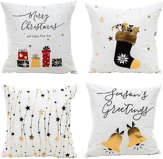 Gspirit Navidad Cojines Sofas 4 Pack algodón Lino Funda Cojines ...