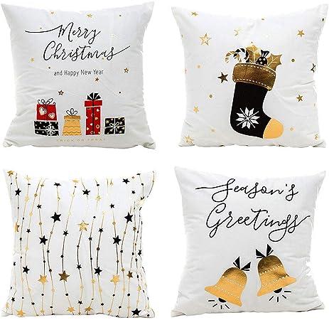 Gspirit Navidad Cojines Sofas 4 Pack algodón Lino Funda Cojines Funda de Almohada para Cojín 45x45 cm(1): Amazon.es: Hogar