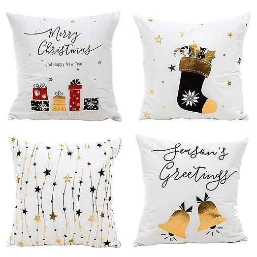 Gspirit Navidad Cojines Sofas 4 Pack algodón Lino Funda Cojines Funda de Almohada para Cojín 45x45 cm(1)