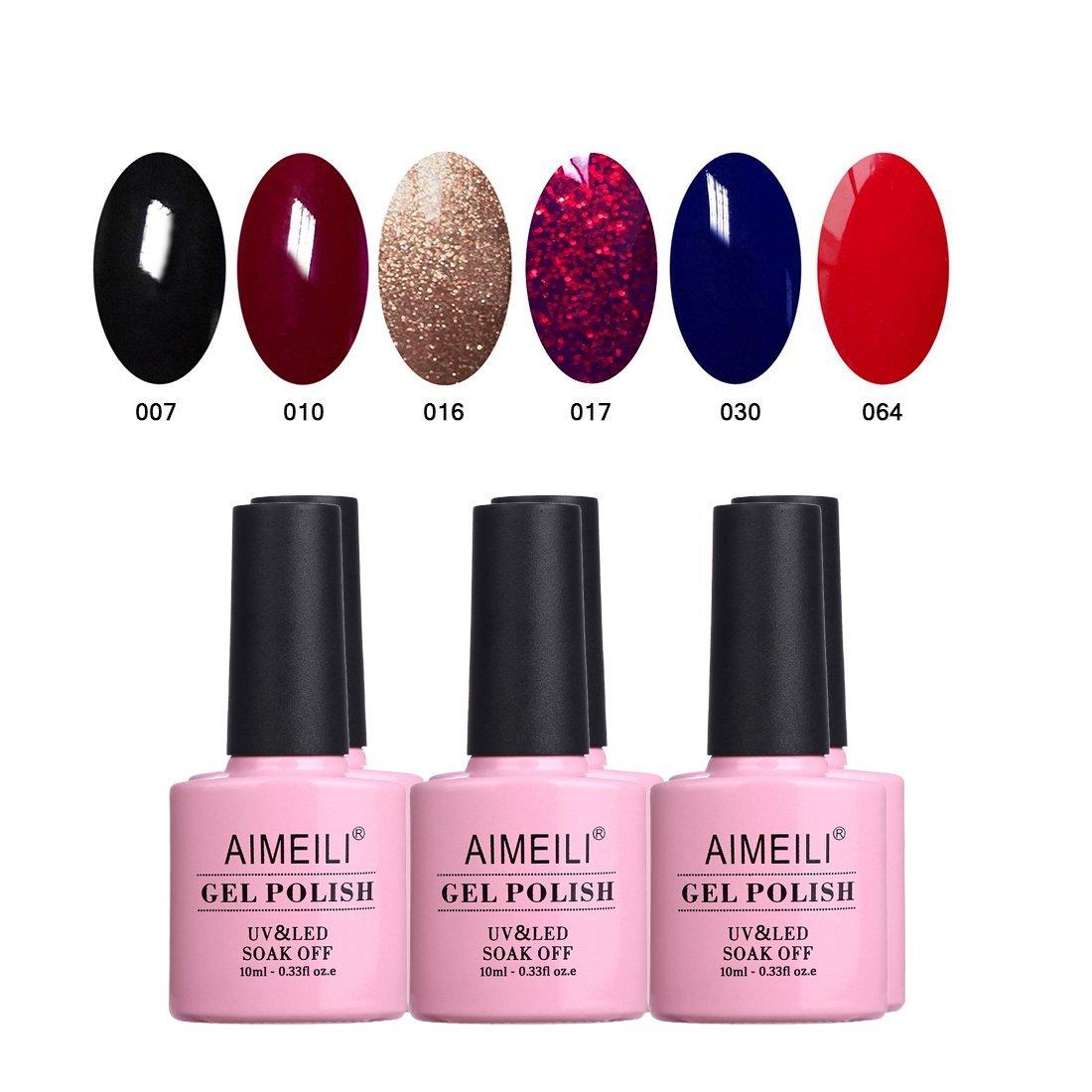 AIMEILI Gel Nail Polish Set Soak Off UV LED Gel Polish Multicolour/Mix Colour/Combo Colour Of 6pcs X 10ml - Gift Kit 19