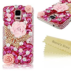 Mavis's Diary 3D Handmade Crystal Butterfly and Flowers Rhinestone Diamond with Clear Hard Case Cover for Samsung Galaxy S5 I9600 with Soft Clean Cloth (Golden Butterfly Pink Case)
