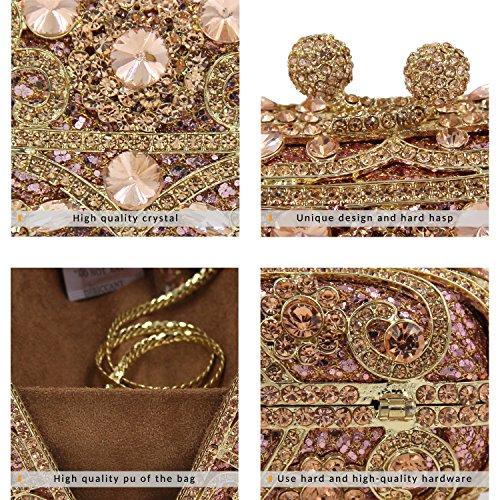 Milisente Bolso de Noche Mujer Clásico Cristal Flores Fiesta Clutch Bag Cartera Embrague (Plateado) Champán