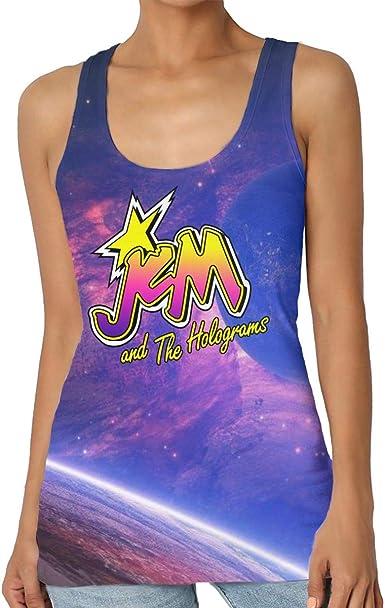 Jem_and_The_Holograms, Camiseta sin Mangas de Cuello Redondo para Mujer, Camisa básica de Verano, Talla Grande Negro Negro (XXL: Amazon.es: Ropa y accesorios