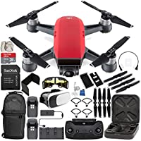 DJI Spark Portable Mini Drone Quadcopter Fly More Combo (Lava Red) EVERYTHING YOU NEED Bundle