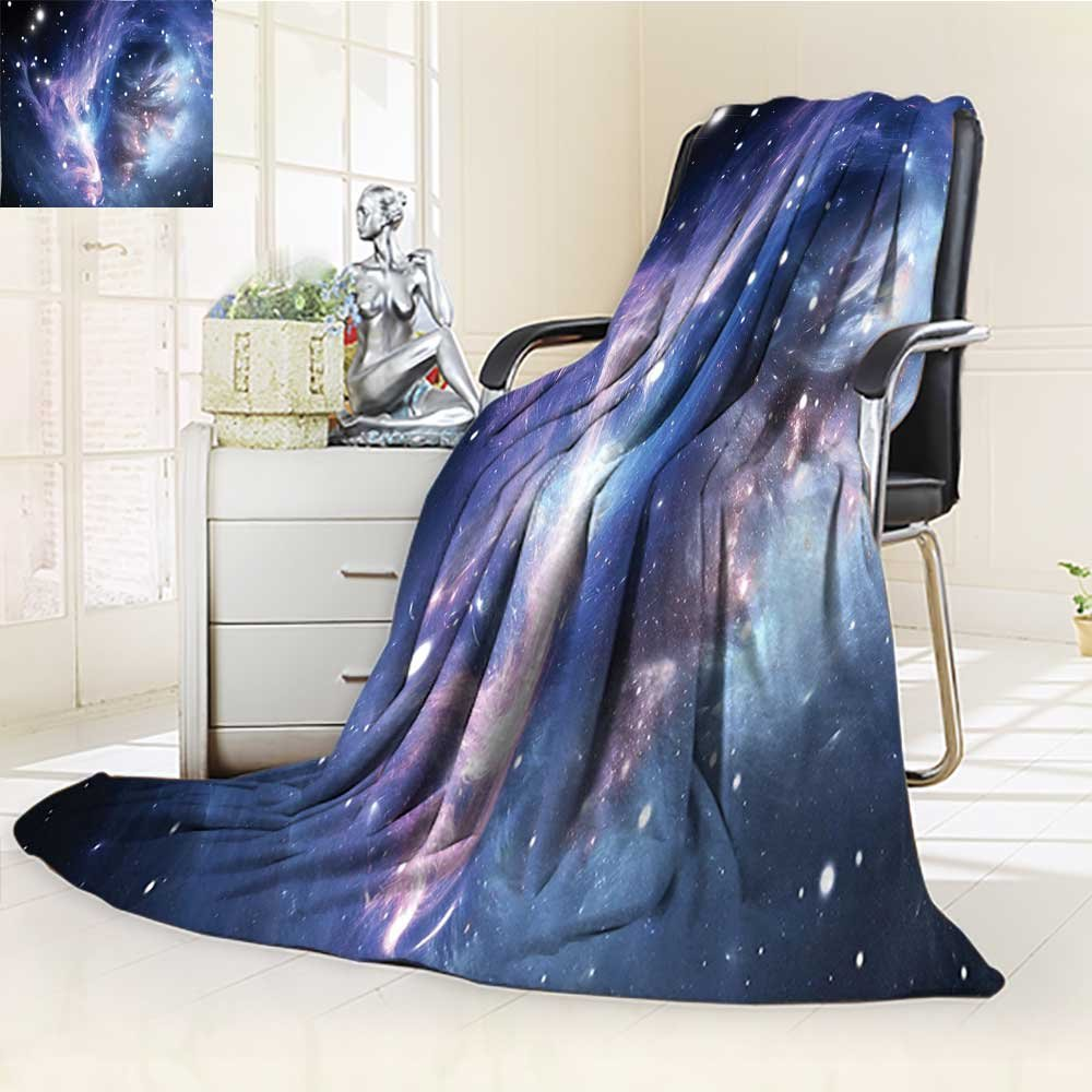 YOYI-HOME Weave Pattern Extra Long Duplex Printed Blanket Nebula Gas Cloud in Deep Ouuter Space with Star Cluster Universe Solar Navy Purple Custom Design Cozy Flannel Blanket /W39.5 x H59