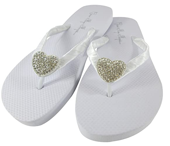 e0c42c1ef5 Amazon.com: Heart Rhinestone Bling Flat Bridal Flip Flops: Handmade