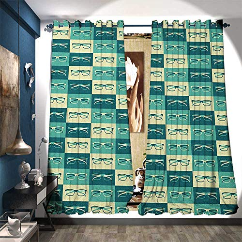 - BlountDecor Waterproof Window Curtain Pattern with Eyeglasses in Vintage Style Hipster Cool Collection Waterproof Window Curtain W72 x L96 Petrol Blue Turquoise Cream