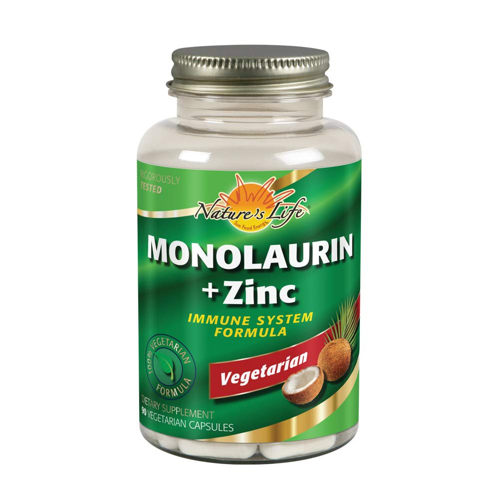 Nature's Life Monolaurin + Zinc 1000 mg | Immune System Support Supplement with 15 mg Zinc | Vegetarian | 90ct, 45 Serv.