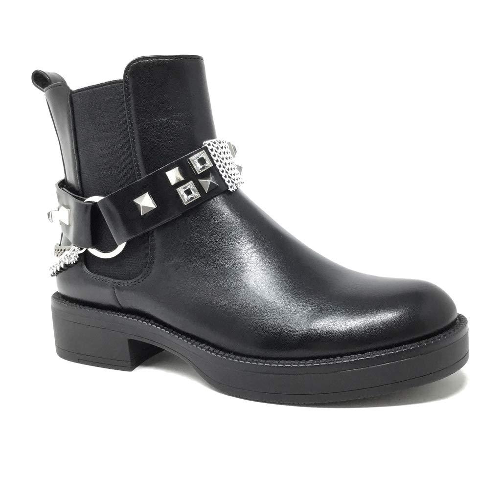 Angkorly - Damen Schuhe Stiefeletten - Biker - Rock - Straße - Nieten-Besetzt - Silberkette - Modern Blockabsatz high Heel 3.5 cm