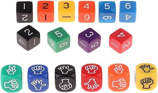 Sharplace 16pcs Juego de Mesa Dados D6 de Números y Tijera de Papel de Piedra: Amazon.es: Juguetes y juegos