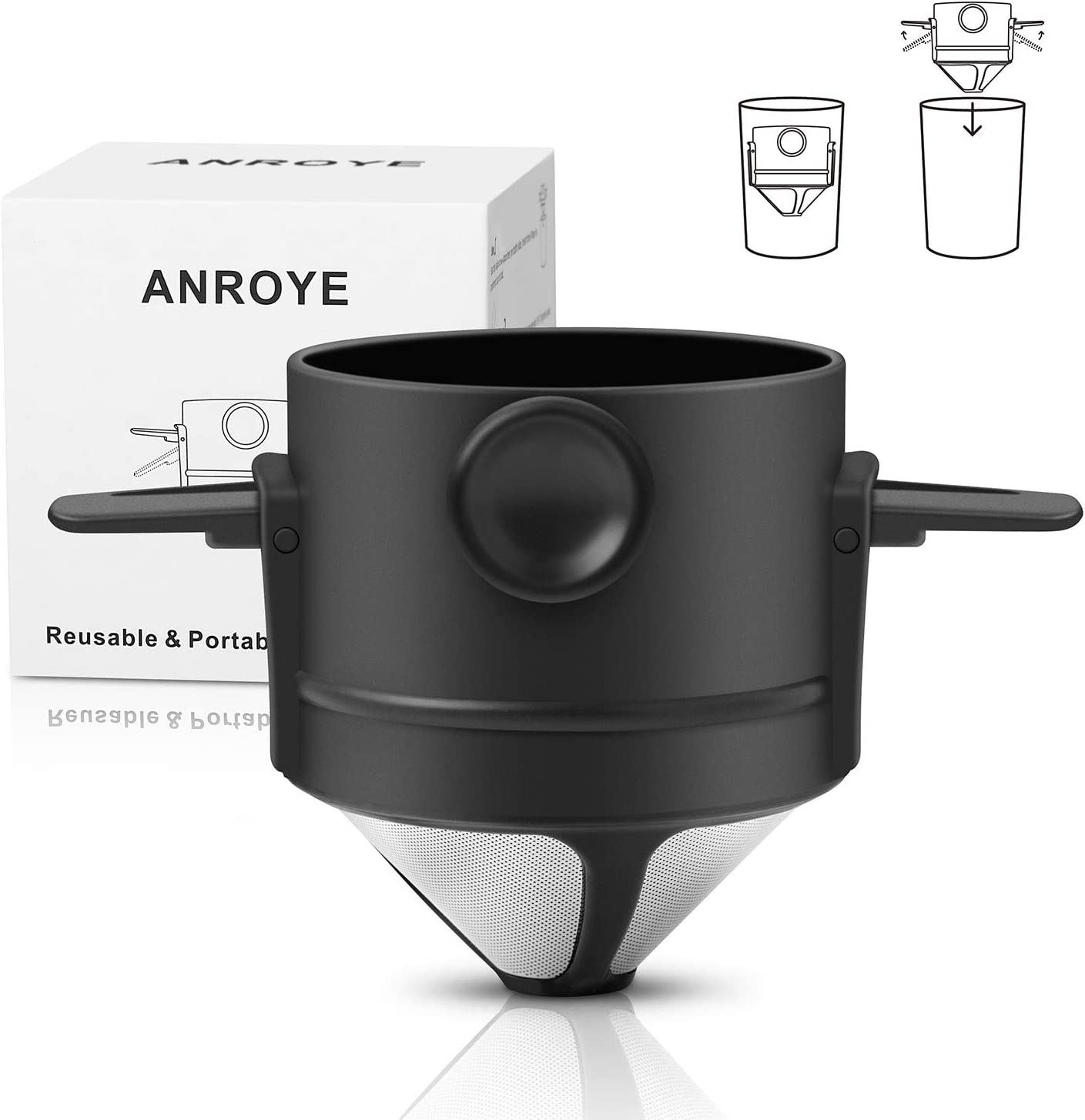 Mini Collapsible Paperless Single Serve 1-2 Cup Coffee Maker for Travel Camping Offices Backpacking Portable Stainless Steel Reusable Coffee Dripper Cone Pour Over Coffee Filter