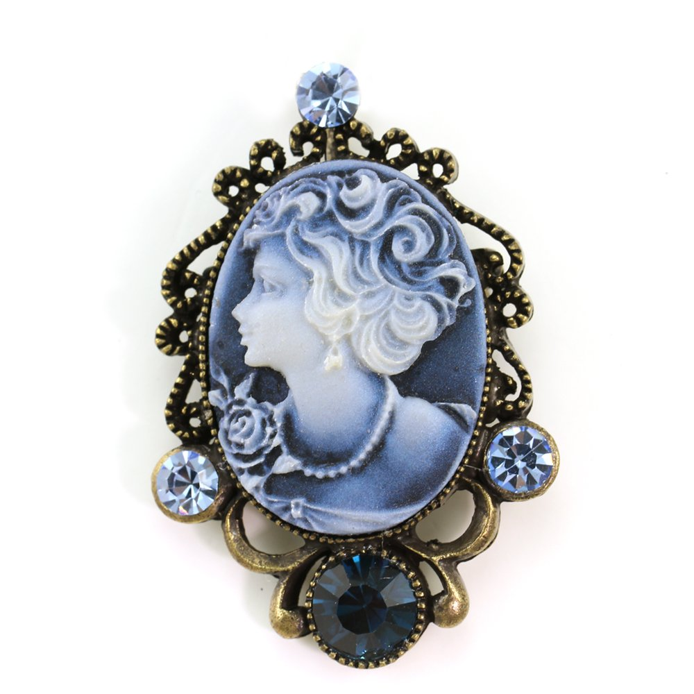 Navy Dark Blue Cameo Brooch Pin Charm Rhinestones Women Fashion Jewelry Necklace Pendant Compatible