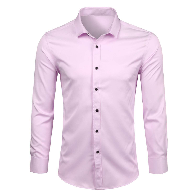 Lu Studio Mens Bamboo Fiber Shirts New Casual Slim Fit Long Sleeve Mens Shirts 4XL,Light Purple,XXXL