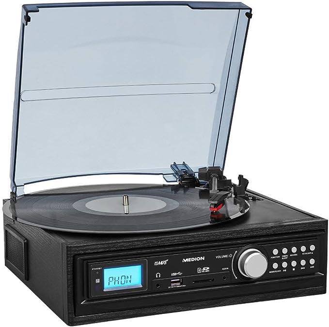 MEDION e69468 Tocadiscos con Altavoz (LP Vinilo, pletina MC, MP3 ...