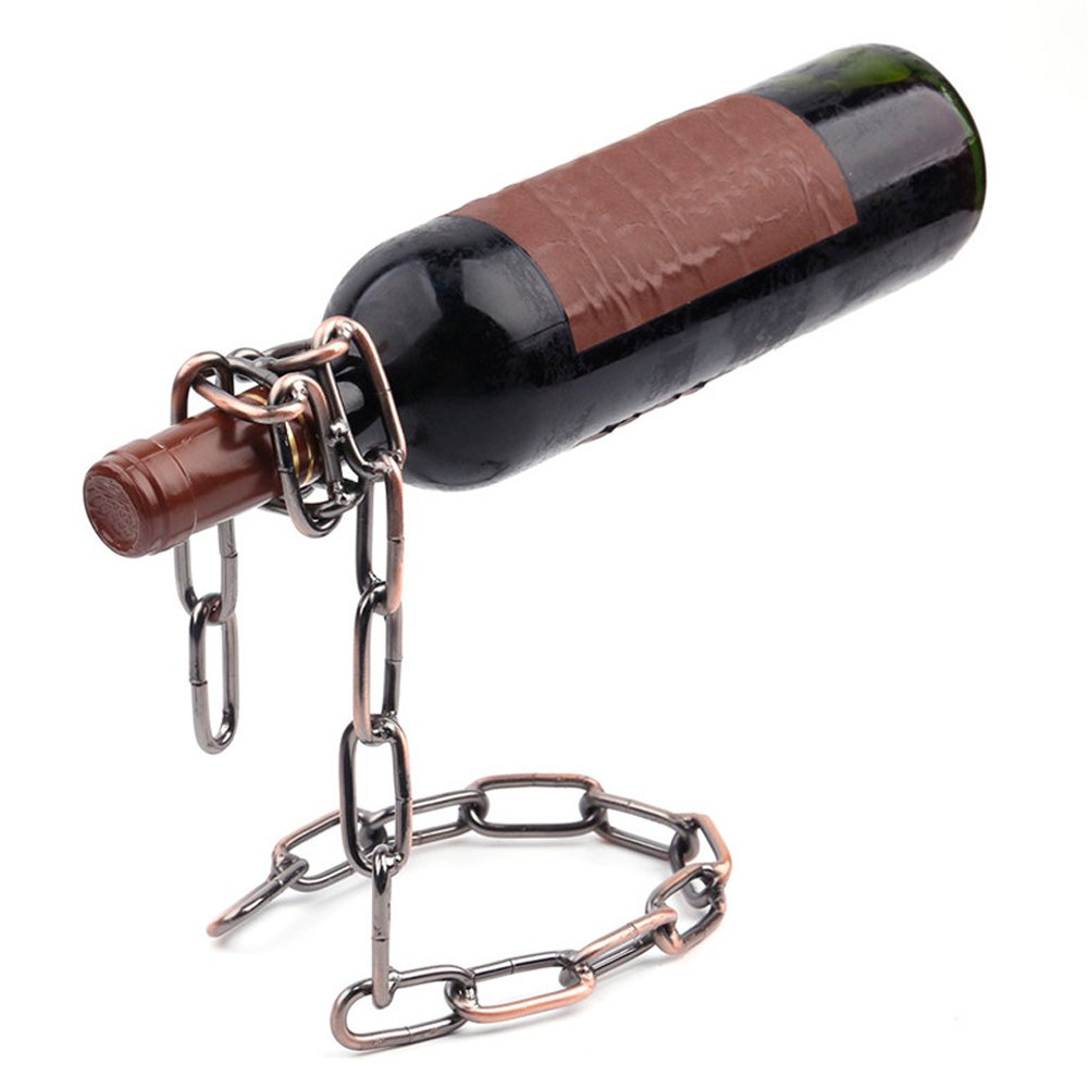 Ireav Bar Tools Portable Wine Rack Creative Magic Rope Wine Bottle Holder Chain Metal Single Hanging Wine Rack
