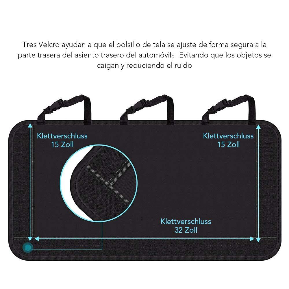 Rovtop Organizador Maletero Coche, Trasero Almacenamiento Bolsa de Malla para Coche con 9 Bolsillos, Correa Ajustable y 3 Velcros, Adecuado para SUV, ...