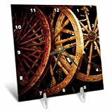 3dRose Alexis Photography - Objects - Golden age technologies - spinning wheels spare parts. Stylized photo - 6x6 Desk Clock (dc_270867_1)