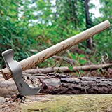 CRKT Woods Chogan Tomahawk Axe: RMJ T-Hawk Lightweight Outdoor Camping Axe with Hammerhead, Forged Carbon Steel Blade, and Hickory Wooden Handle 2730