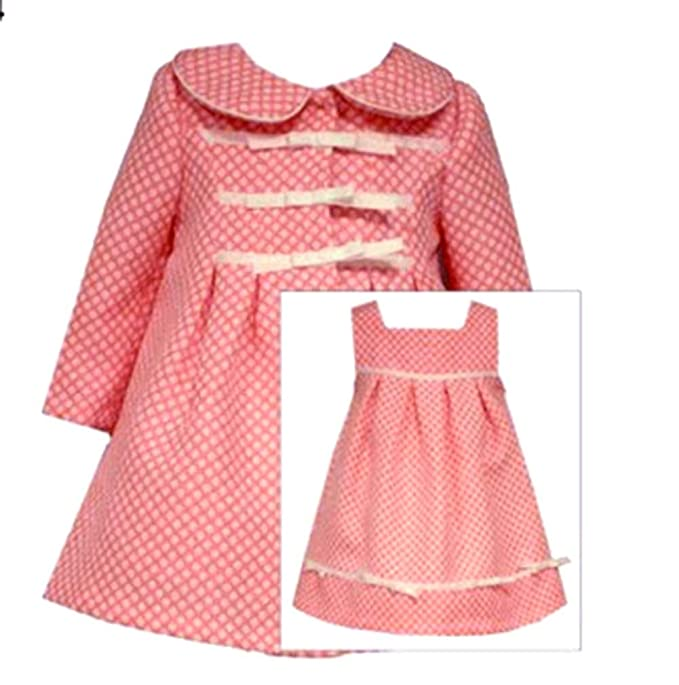 2803dc8ee25d Girls Bonnie Jean Coral Polka-dot Easter Dress & Coat Ensemble (2T, Coral