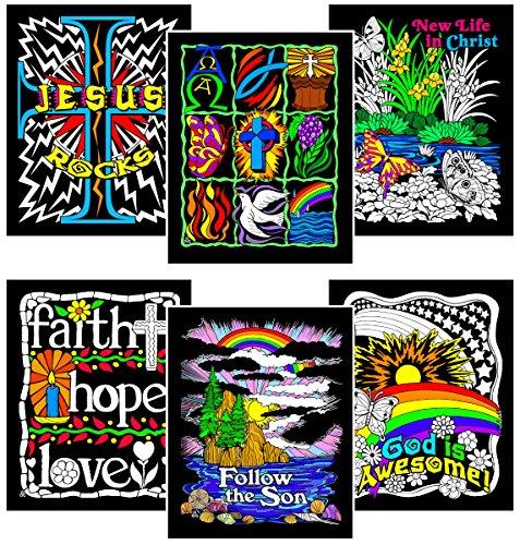 Stuff2Color Faith Bundle - Includes 6 Fuzzy Velvet Coloring Posters -