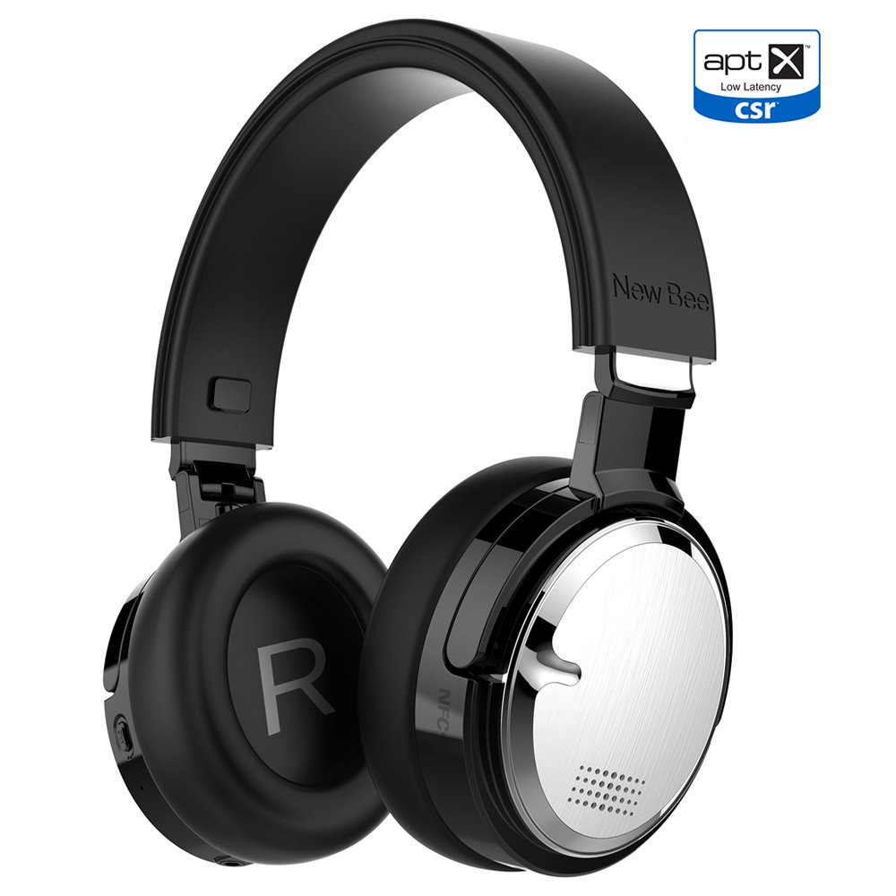 Active Noise Cancelling Headphone New Bee Bluetooth 4.2 Wireless Headphones with aptX Low Latency Microphone Deep Bass HiFi Stereo Over Ear 60H Playtime for Travel/TV/Computer/iPhone (NB10-SIM)