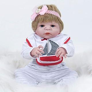 AFYH Bambola Reborn, Morbida Bambola in Silicone con Grandi Occhi Azzurri e Simpatica Muta da Marinaio per Bambole per Bambini, Gli Arti Possono muoversi di 55 cm di Altezza, Regali per Bambini.