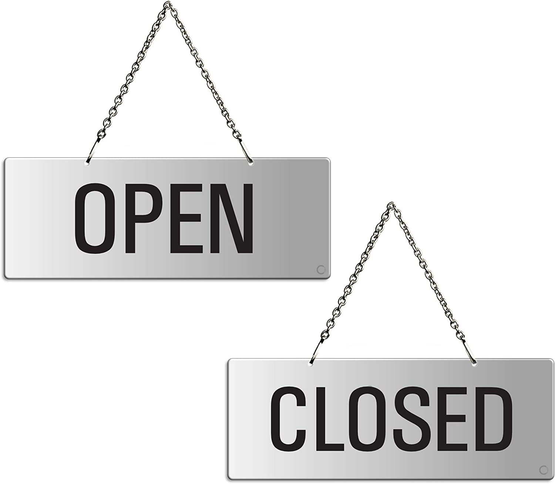 "OFFORM Aluminium Turnsign""Open/Closed"" 175 x 65 mm 31201-E: Amazon.co.uk:  Kitchen & Home"