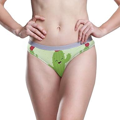 Ropa Interior de Mujer Bikini Cute Cartoon Cactus 3D Impreso Sexy Cintura Baja Bragas Hipster Comfy Briefs S: Amazon.es: Ropa y accesorios