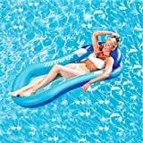 HomeYoo Water Floating Hammock, Comfortable Spring Float Pool Lounger Water Rafts, Swimming Pool Inflatable Floating Bed & Floating Chair, Water Sofa, Beach Mat for Adult Kids Outdoor Swimming (Blue)