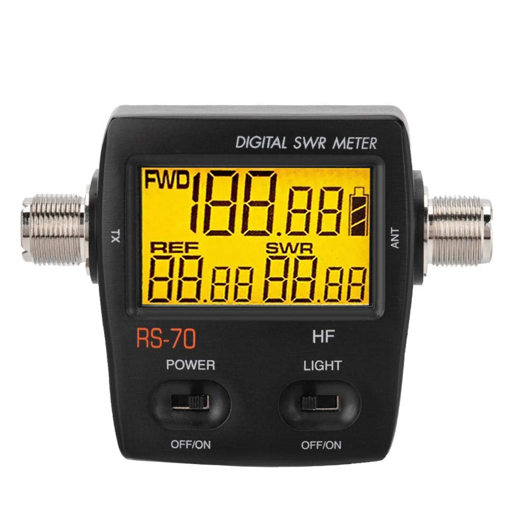 Bewinner Short Wave Digital SWR Standing Wave Meter,Maximum Measurable Power Range up to 200W,LED Backlight Display,Forward/Reversed/VSWR Ration in One Push Button - 1.6-60 Mhz Standing Wave Meter