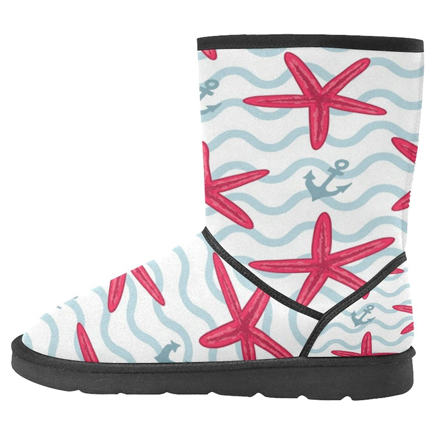 Women's Snow Boots Unique Designed Comfort Winter Boots Anchors and Pink Seashells
