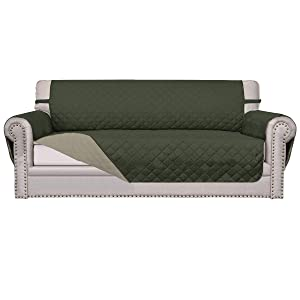 Easy-Going Sofa Slipcover Reversible Sofa Cover Furniture Protector Anti-Slip Foams Couch Cover Water Resistant Elastic Straps PetsKidsChildrenDogCat(Sofa,Army Green/Beige)