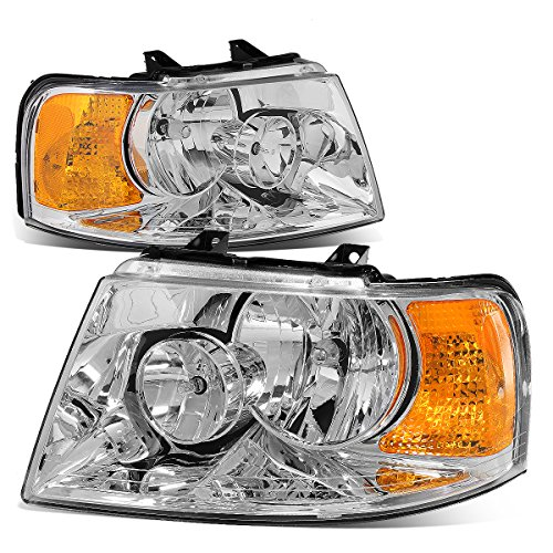 For Ford Expedition U222 Pair of OE Style Chrome Housing Amber Corner Headlight