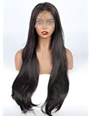 vvBing Dark Brown Hair Synthetic Lace Front Wig Long Udreamy Nautral Straight Glueless Replacement Hair Wigs For Women Heat Resistant Fiber Hair Half Hand Tied 26 Inches
