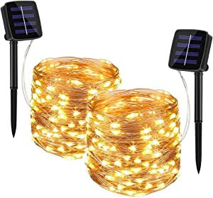 Tarnel Solar String Lights Outdoor - 2 Pack 33FT 100 LED Solar Powered String Lights Waterproof Yard Trees Christmas Table Wedding Garden Lights Copper (Warm White)