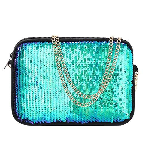 Clutch Purses for Women Neoprene Crossbody Bag Mermaid Sequin Bag Detachable Chain Crossbody Wallets - FUNLAVIE