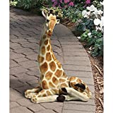 Design Toscano EU1015 Zari The Resting Giraffe African Decor Garden Statue, 20 Inch, Full Color